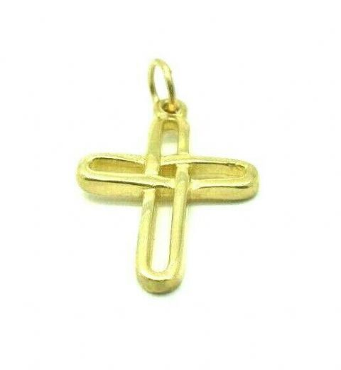 9ct Yellow Gold Hallmarked Plain Polished Cutout Cross/ Crucifix Pendant
